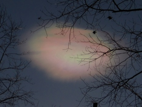 Iridescent cloud beginning to dissipate