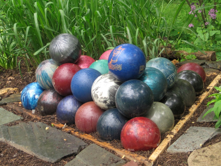 A waiting game - bowling ball pyramid