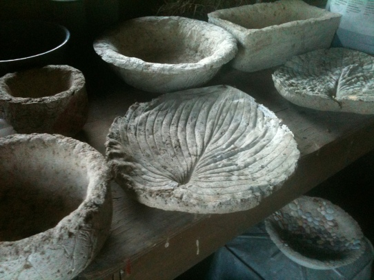 Completed Hypertufa leaves and pots