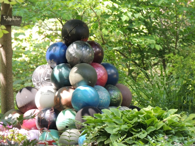Bowling Ball pyramid with hostas