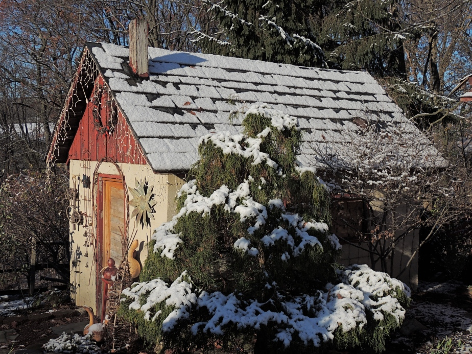First snow the pottong shed November 2014