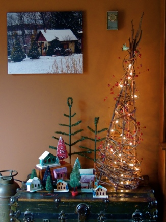A photo of our potting shed adds a holiday touch to our holiday village