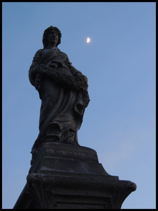 Sculpture and the moon