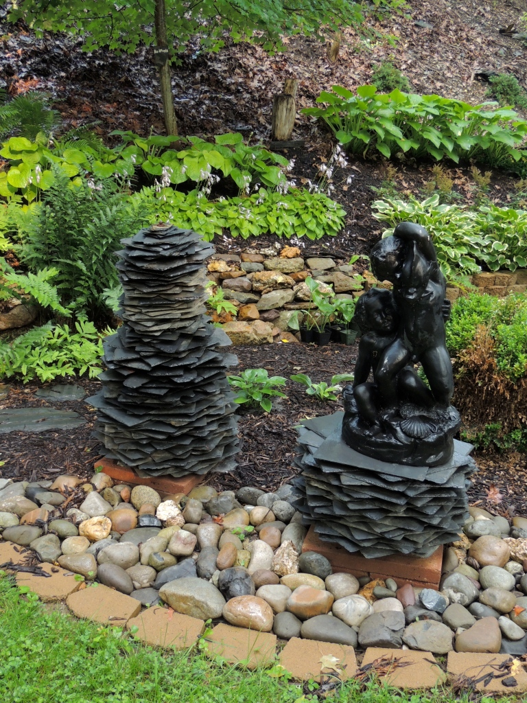 Slate sculptures in the lower garden