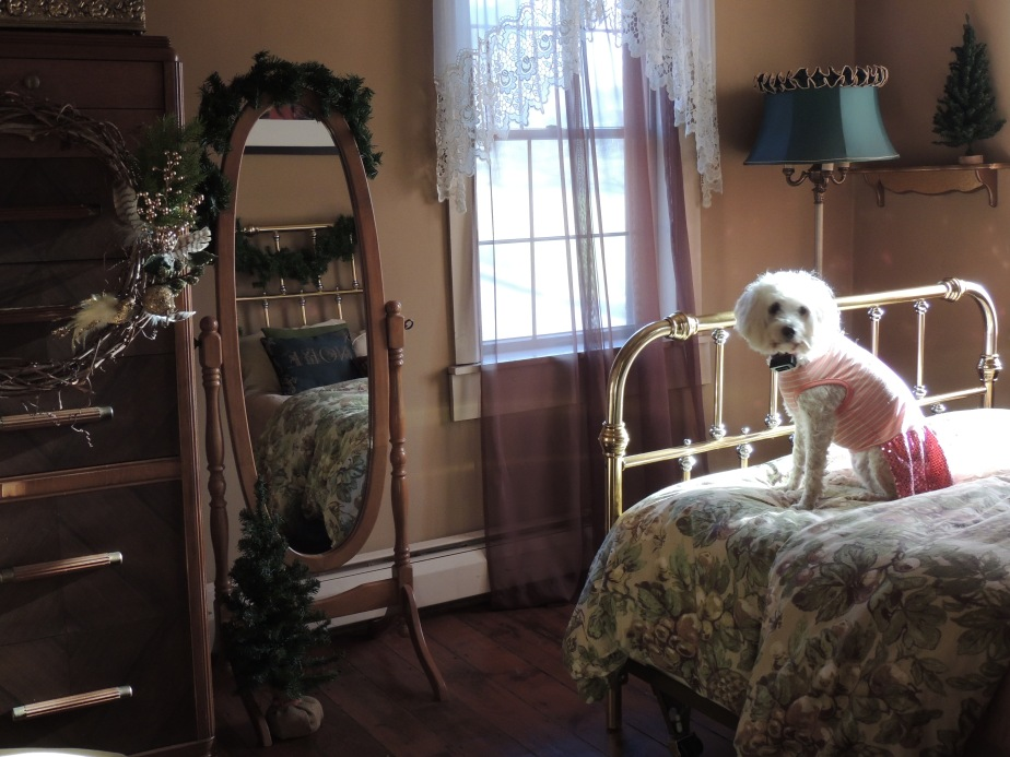 Upstairs bedroom a deep-woods Christmas