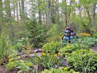 Lower Gardens Bowling ball sculpture