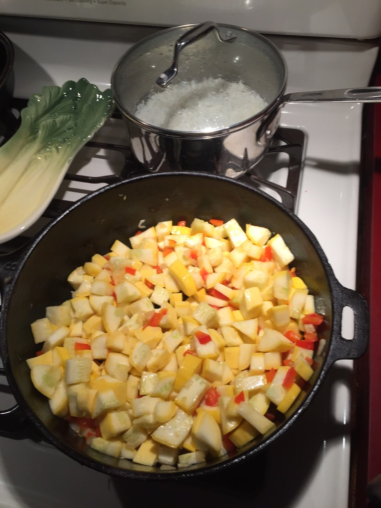 Summer Squash, red pepper and onions sauted in Herbes de Provence oil