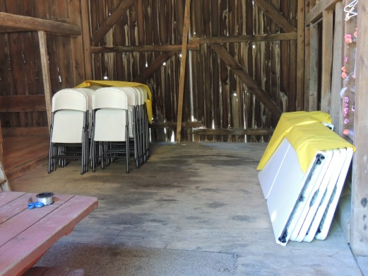 Barn repurposing chairs and tables