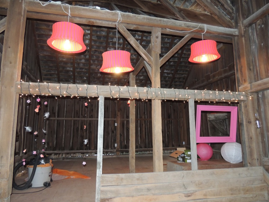 Lights strung Rustic barn wedding