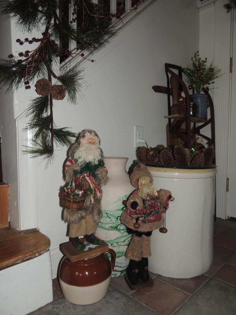Santas and sled at Christmas